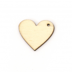 Wooden Figurine for decoration heart 20x25x2 mm hole 0.5 mm - 10 pieces