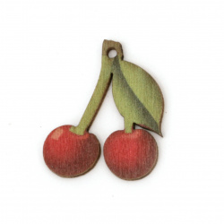 Wooden Figurine for decoration Cherries 27x22x1.5 mm hole 1 mm - 4 pieces