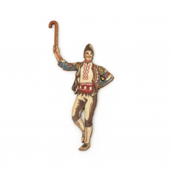 "Wooden figurine for decoration boy with short wooden stick ""gega"" in folk costume 90x50x2 mm"