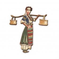 Фигурка дърво за декорация мома с менци в народна носия 65x54x2 мм