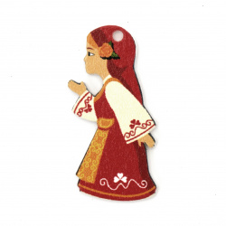 Дървена висулка момиче с народна носия 40x20x2 мм  дупка 2 мм -10 броя
