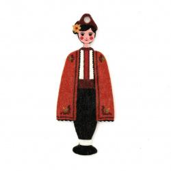 Дървена висулка момче с народна носия 48x20x2 мм дупка 1.5 мм -10 броя