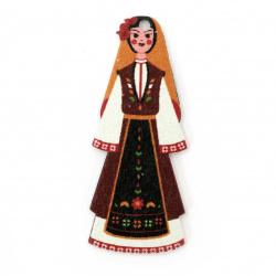 Дървена висулка момиче с народна носия 48x20x2 мм дупка 1.5 мм -10 броя