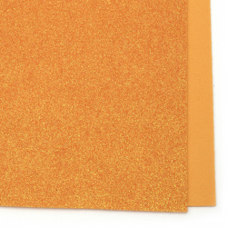 Orange EVA foam A4 sheet 20x30 cm with glitter rainbow for scrapbook projects & craft decoration 2 mm