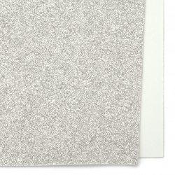 Silver EVA foam A4 sheet 20x30 cm with glitter for scrapbook projects & craft decoration 2 mm