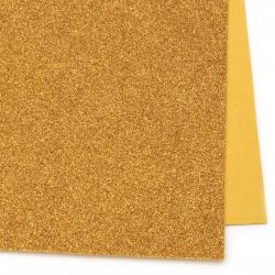 EVA материал /микропореста гума/ 2 мм А4 20x30 см с брокат злато тъмно