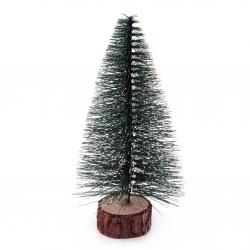 Декорация коледна елха 150x78 мм на стойка зелена