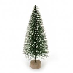 Декорация коледна елха 130x55 мм на стойка зелена