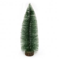 Декорация коледна елха 350x130 мм на стойка зелена
