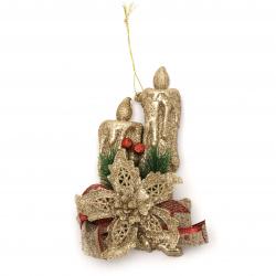 Декорация коледна имитация свещи с брокат цвят злато и панделка зебло