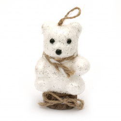 Αρκουδάκι χριστουγεννιάτικο στολίδι 85x55 mm λευκό με κασκόλ