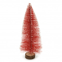 Декорация коледна елха 350x130 мм на стойка червена
