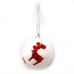 Χριστουγεννιάτικη μπάλα με ελάφι 46 mm λευκό, κόκκινο -6 τεμάχια