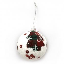 Χριστουγεννιάτικη μπάλα με ύφασμα και πούλιες 55 mm έλατο -6 τεμάχια