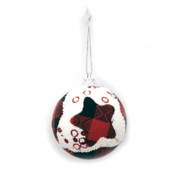 Χριστουγεννιάτικη μπάλα με ύφασμα και πούλιες 56mm αστέρι, ρόμβος -6 τεμάχια