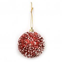 Коледна топка стиропор, брокат 56 мм цвят червен, бял -6 броя