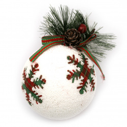 Коледна топка стиропор, клонче с шишарка 77 мм снежинка -3 броя