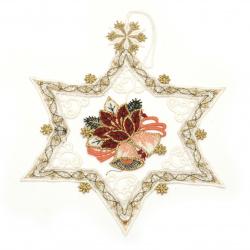 Коледна украса дантела ръчна изработка 170x140 мм звезда с камбанки