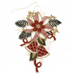 Коледна украса дантела ръчна изработка 155x100 мм цвете с камбанки