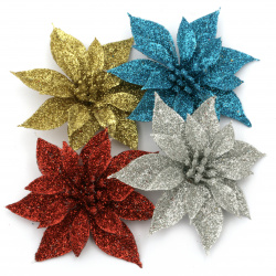 Декорация коледна цвете 85x85x3 мм цветна с брокат -4 броя