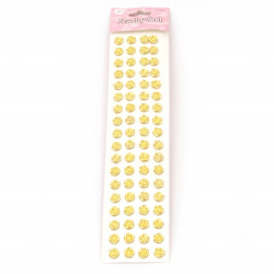 Самозалепващи перли цвете 10 мм цвят злато - 72 броя