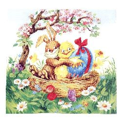 Napkin HOME FASHION 33x33 cm three-layer Easter Friends -1 piece