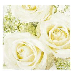 Салфетка HOME FASHION 33x33 см трипластова White Roses -1 брой