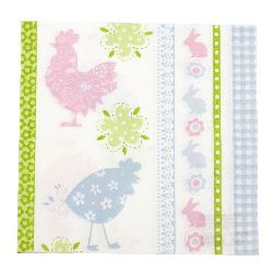 Napkin HOME FASHION 33x33 cm three-layer Flowery Chicken -1 piece