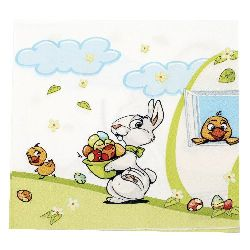 Napkin HOME FASHION 33x33 cm three-layer Get the Easter Eggs -1 piece