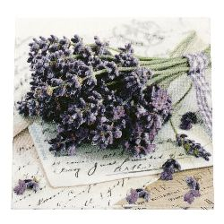 Салфетка HOME FASHION 33x33 см трипластова Lavender Greetings -1 брой