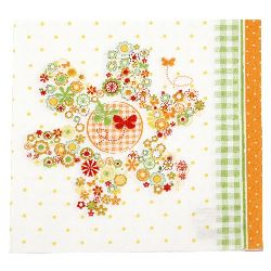 Салфетка HOME FASHION 33x33 см трипластова Flowers in a Flower -1 брой