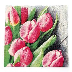 Салфетка HOME FASHION 33x33 см трипластова Pink Tulips -1 брой