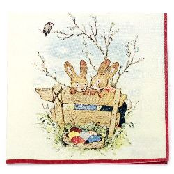 Napkin HOME FASHION 33x33 cm three-layer Bunny Friends -1 piece