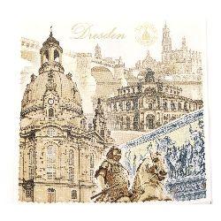 Салфетка HOME FASHION 33x33 см трипластова Dresden -1 брой