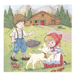Салфетка HOME FASHION 33x33 см трипластова Heidi and Peter in the Alps -1 брой