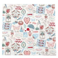 Салфетка HOME FASHION 33x33 см трипластова Love Icons -1 брой