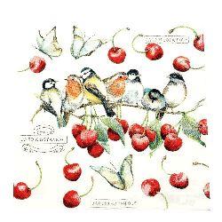 Салфетка HOME FASHION 33x33 см трипластова Cherry Birds -1 брой