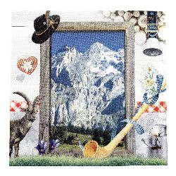 Салфетка HOME FASHION 33x33 см трипластова Welcome to the Alps -1 брой