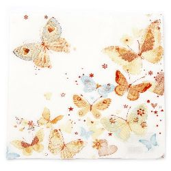 Șervețel HOME FASHION 33x33 cm trei straturi Lovely Butterflies -1 buc