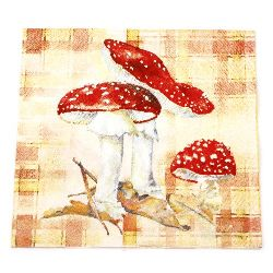 Салфетка HOME FASHION 33x33 см трипластова Toad Stool -1 брой