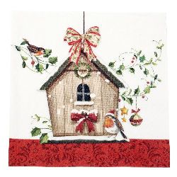 Салфетка HOME FASHION 33x33 см трипластова Winter Bird House -1 брой
