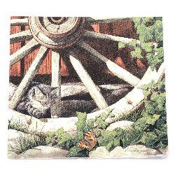 Салфетка HOME FASHION 33x33 см трипластова Cat on an old wheel -1 брой
