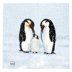 Салфетка HOME FASHION 33x33 см трипластова Penguin Family -1 брой