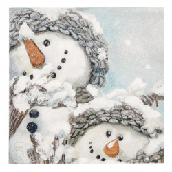 Салфетка HOME FASHION 33x33 см трипластова Cozy Snowmen -1 брой