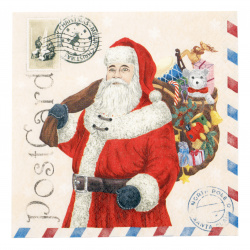 Салфетка HOME FASHION 33x33 см трипластова Santa Postcard -1 брой