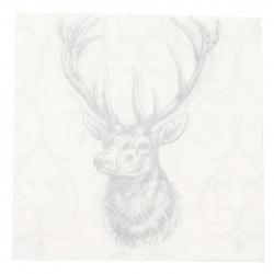Салфетка HOME FASHION 33x33 см трипластова Deer grey/silver -1 брой