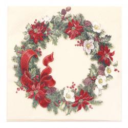 Салфетка HOME FASHION 33x33 см трипластова Icy Christmas Wreath -1 брой
