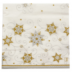 Șervețel HOME FASHION 33x33 cm cu trei straturi Stars and Swirls argintiu -1 buc