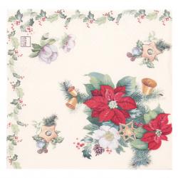 Салфетка HOME FASHION 33x33 см трипластова Poinsettia and Ilex -1 брой