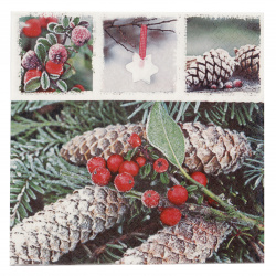 Салфетка HOME FASHION 33x33 см трипластова Red Frozen Berries -1 брой